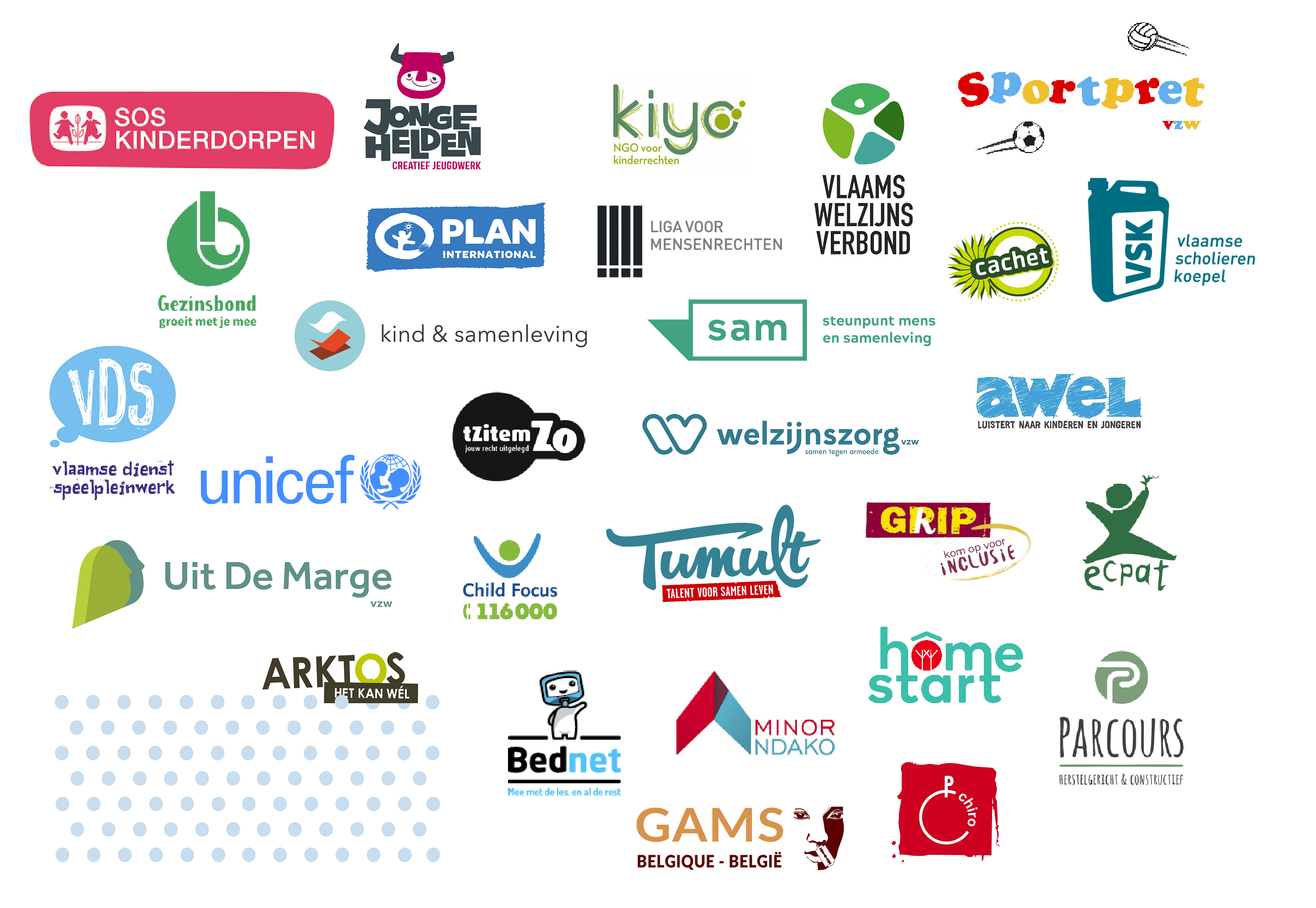 Logo's van alle lidorganisaties de Kinderrechtencoalitie